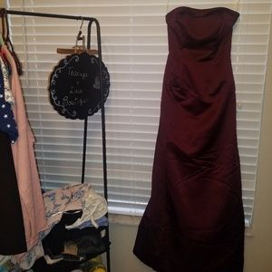David's Bridal A line Dress Wine Sz 2